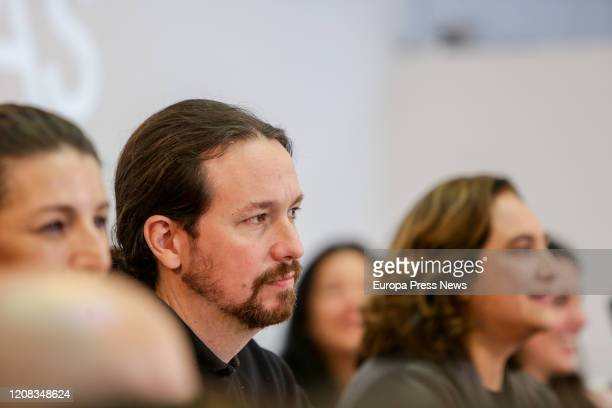 The mayor of Barcelona Ada Colau and the second vice president of the Government Pablo Iglesias are seen during the Federal Meeting of Unidas Podemos...