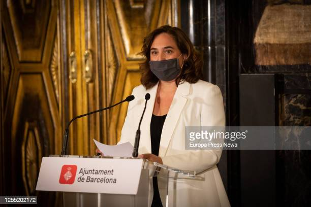 The mayor of Barcelona Ada Colau appears at a press conference before the meeting of the board of the Mobile World Capital Barcelona on July 09 2020...