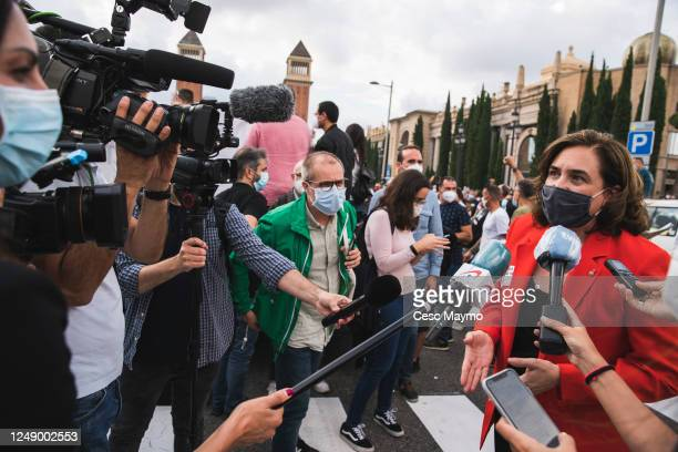 The mayor of Barcelona Ada Colau attend the press during a protest against the closure of the Japanese factories in Catalonia on June 11 2020 in...