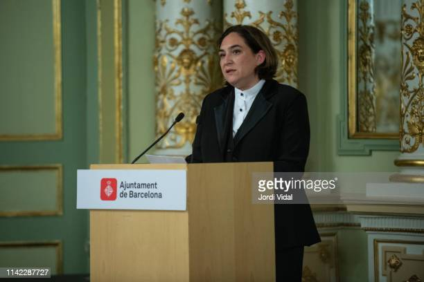 The Mayor of Barcelona Ada Colau attends the postume delivery of the Golden Medal of the City to Montserrat Caballe at Gran Teatre del Liceu on April...