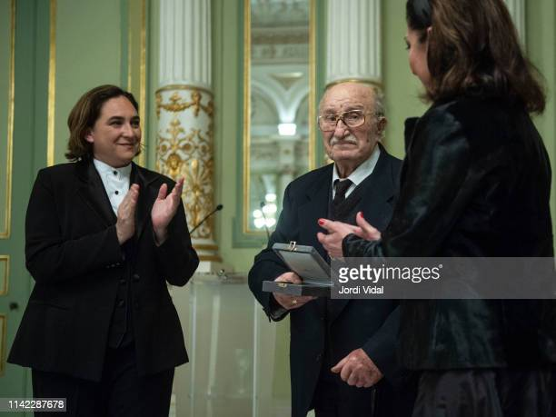 The Mayor of Barcelona Ada Colau delivers the Golden Medal of the City to Montserrat Caballe to Montserrat Caballe husband Bernabe Marti and daughter...