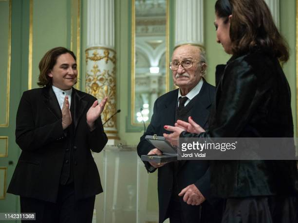 The Mayor of Barcelona Ada Colau delivers the posthume Golden Medal of the City to Montserrat Caballe to her husband Barnabe Marti and daughter...
