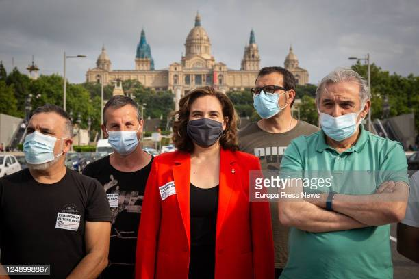 The mayor of Barcelona Ada Colau during a new demonstration by Nissan workers this time at Plaza de España protesting the announcement two weeks ago...