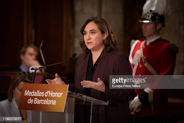 The mayor of Barcelona, Ada Colau, during her speech at the Award Ceremony of the Barcelona Medals of Honour on November 26, 2019 in Barcelona, Spain.