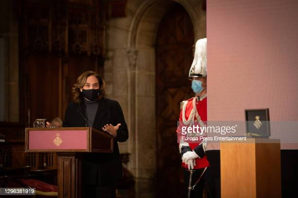 The Mayor of Barcelona, Ada Colau during her speech in the award ceremony of the Gold Medals for Cultural Merit and Scientific Merit on January 14,...