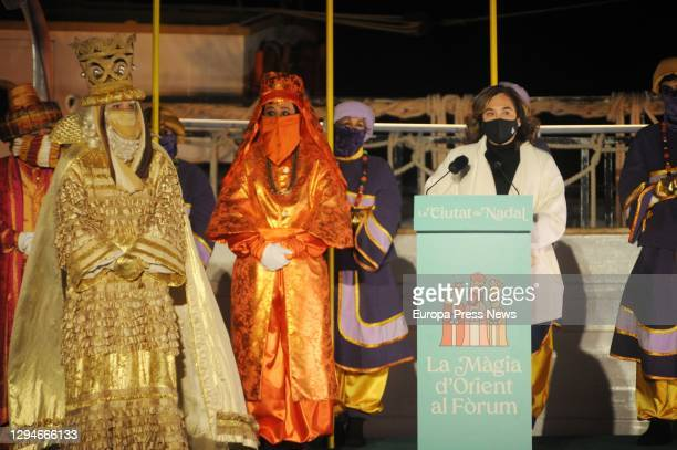 The Mayor of Barcelona, Ada Colau during her speech with the Three Kings on 5 January 2021, in Barcelona, Catalonia . Colau received the Three Kings...
