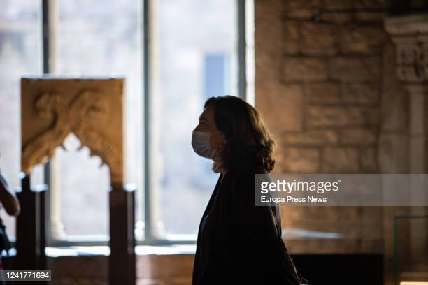 The mayor of Barcelona Ada Colau inside the Museu d'Història de Barcelona during her scheduled visit to the center and the Museu Frederic Marès where...