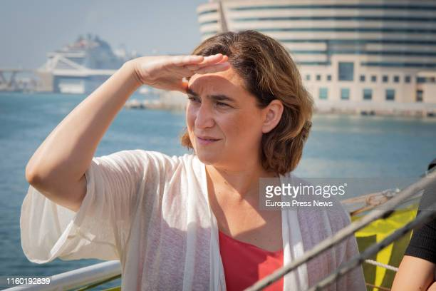 The mayor of Barcelona, Ada Colau is seen during a visit to the Greenpeace Rainbow Warrior ship on July 05, 2019 in Barcelona, Spain.