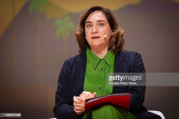 The mayor of Barcelona, Ada Colau, is seen during her speech at the inauguration of the Digital Future Society Summit during the ninth edition of the...