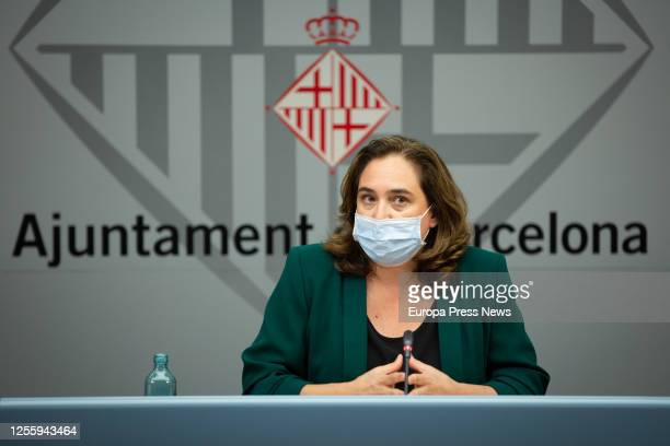 The mayor of Barcelona Ada Colau offers a press conference to report on the situation of the coronavirus on July 13 2020 in Barcelona Spain
