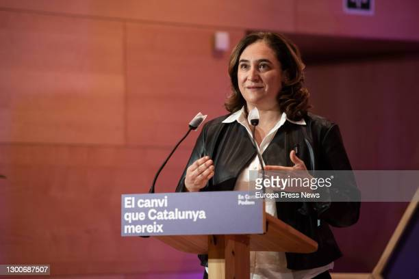 The mayor of Barcelona, Ada Colau, speaks during the En Comú Podem central campaign event for the Catalan elections, on February 6 in Santa Coloma de...