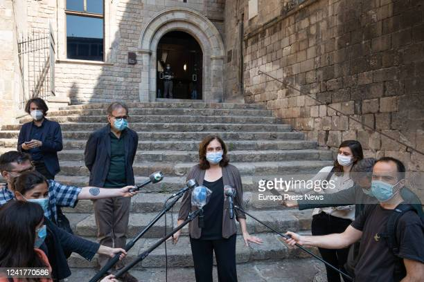The mayor of Barcelona Ada Colau speaks to the media at the exit of the Museu d'Història de Barcelona in her visit to the facilities of that center...