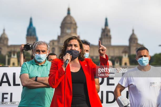 The mayor of Barcelona Ada Colau talk to the crowd of Nissan employees during a protest against the closure of the Japanese factories in Catalonia on...
