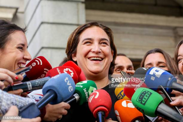The mayor of Barcelona, Ada Colau, talks to the press in the Parliament on March 01, 2019 in Madrid, Spain.
