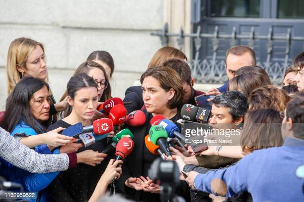 The mayor of Barcelona, Ada Colau , talks to the press in the Parliament on March 01, 2019 in Madrid, Spain.