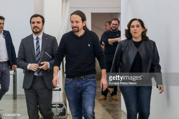 The mayor of Barcelona Ada Colau the Consumption minister Alberto Garzón and the second vice president of the Government Pablo Iglesias are seen...
