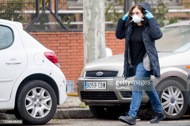 The Mayor of Barcelona Ada Colau wears a health mask during a visit to an action by the Barcelona Firefighters during the Coronavirus Covid19 crisis...