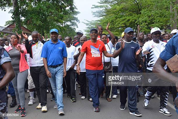 The Mayor of Bujumbura Freddy Mbonimpa leads a demonstration against the European Union the International Criminal Court and the Resolution against...