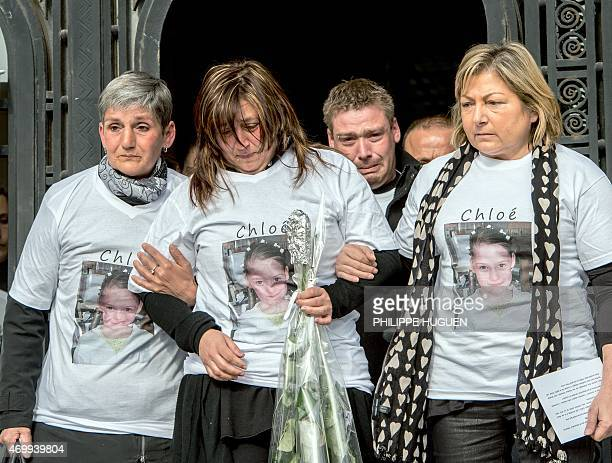The Mayor of Calais Natacha Bouchart the mother of Chloe a nineyearold girl who was killed a day before and relatives leave the city hall on April 16...