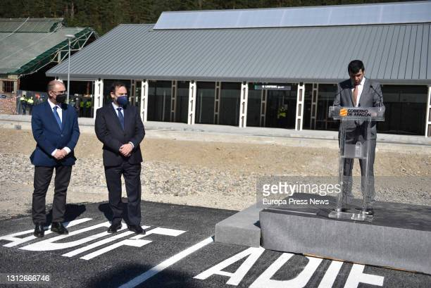 The mayor of Canfranc, Fernando Sanchez intervenes during the inauguration of the new railway station of Canfranc, on April 15 in Canfranc, Huesca,...