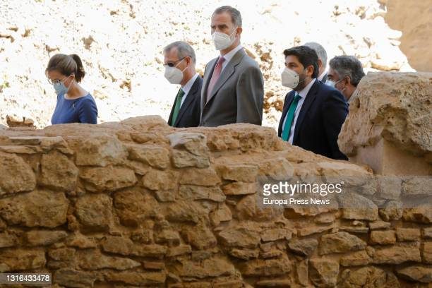 The Mayor of Cartagena, Ana Belen Castejon; King Felipe VI and the President of Murcia, Fernando Lopez Miras during their visit to the site of the...