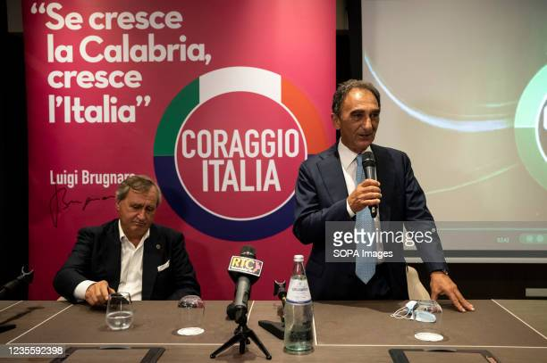 The mayor of Catanzaro Sergio Abramo seen during a speech with Luigi Brugnaro on the left. At the regional electoral campaign, Mayor of Venice and...