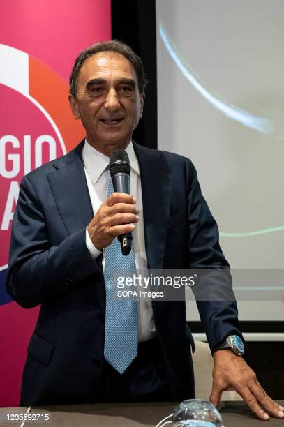 The mayor of Catanzaro, Sergio Abramo, seen speaking during the press conference. At the regional electoral campaign, Mayor of Venice and President...