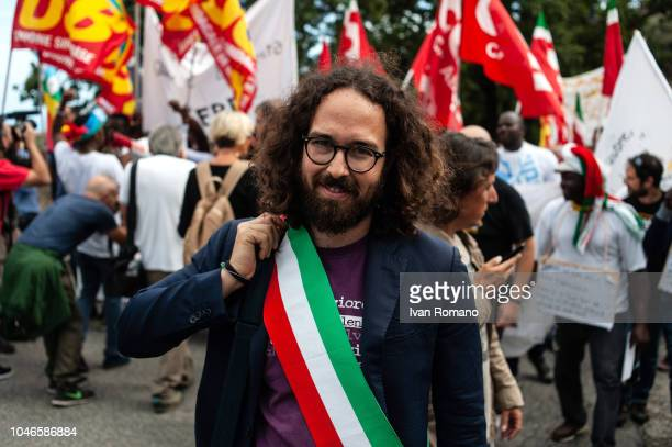 CALABRIA ITALY OCTOBER The mayor of Cerveteri Alessoi Pascucci during the demonstration in favor of Domenico Mimmo Lucano on October 6 2018 in Reggio...