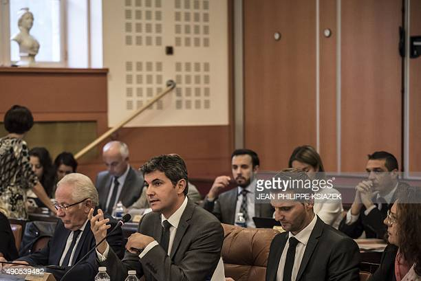 The mayor of ChalonsurSaône Gilles Platret rightwing The Republicans attends the City Council meeting on September 29 2015 in ChalonsurSaone eastern...