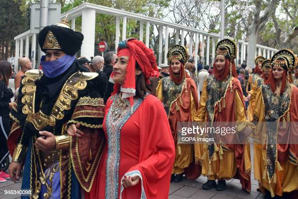 The mayor of de Gavà City Raquel Sanchez during the parade of Moors and Christians during the festivities of Las Fallas in the city of Gava Barcelona...
