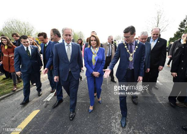 The Mayor of Derry John Boyle points out the border to US House of Representatives Speaker Nancy Pelosi as she visits the border between the United...