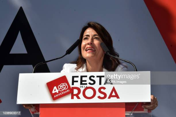 The mayor of Gava City Raquel Sanchez seen speaking during the Feast of the Rose