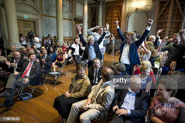 The mayor of Leeuwarden Ferd Crone celebrates after the announcement of the election of the European Capital of Culture 2018 in Amsterdam the...
