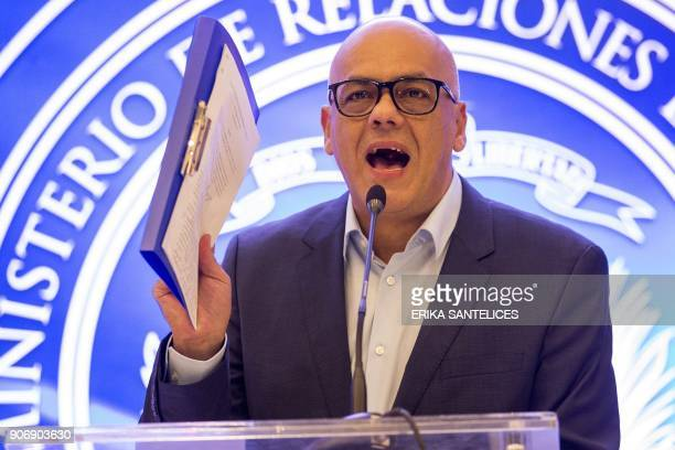 The mayor of Libertador municipality in Caracas and the leader of the progovernment United Socialist Party of Venezuela Jorge Rodriguez gives a press...