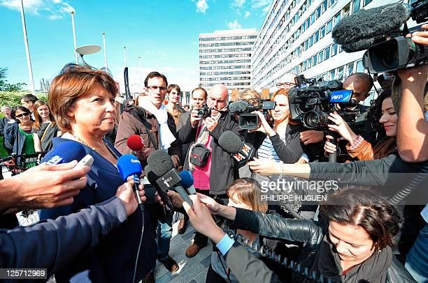 The mayor of Lille and French candidate for the 2011 Socialist party primary vote for France's 2012 presidential election Martine Aubry speaks to the...