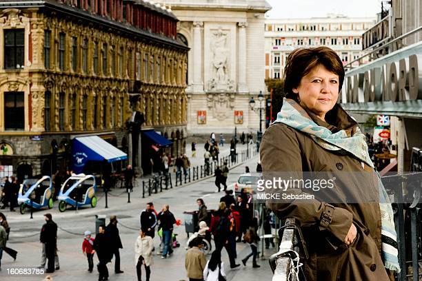 The Mayor of Lille Martine Aubry Saturday October 4 leaning against the railing of the porch of Theatre North Martine Aubry overlooks the main square...