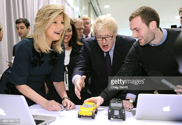 The Mayor of London Boris Johnson and Arianna Huffington compete in a transatlantic tech challenge at an event hosted by London's Mayor to promote...
