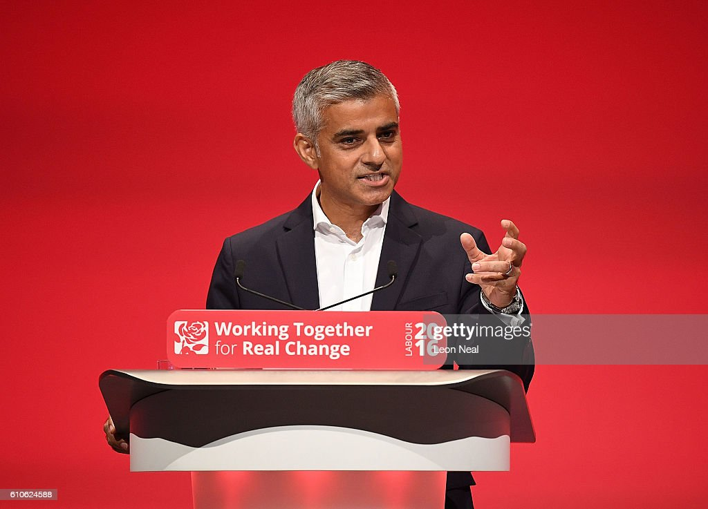 The Mayor of London Sadiq Khan addresses the Labour conference for the first time since his election on September 27, 2016 in Liverpool, England. On day three of the annual conference at the ACC, Shadow Education Secretary Angela Rayner is to set out the party's policy on childcare while deputy leader Tom Watson will deliver his keynote speech to delegates.