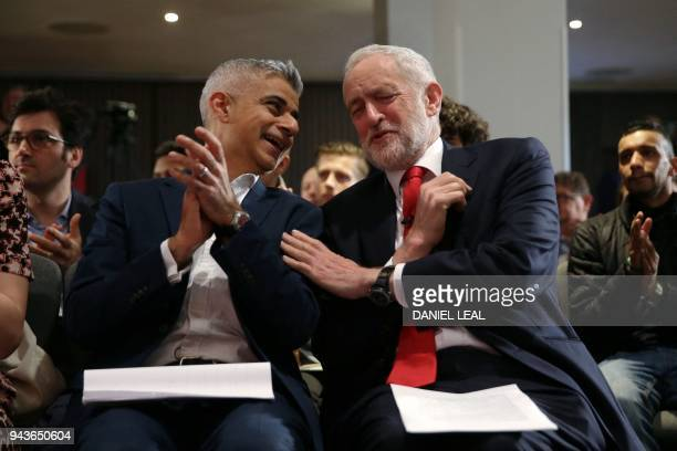 The Mayor of London, Sadiq Khan and Britain's opposition Labour party leader Jeremy Corbyn gesture during the launch of Labours local election...