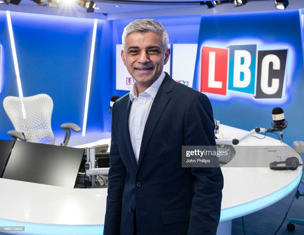 The Mayor of London takes part in Speak to Sadiq, his live phone-in on the national radio station LBC, hosted by James O'Brien at LBC Studio on April 6, 2017 in London, England.