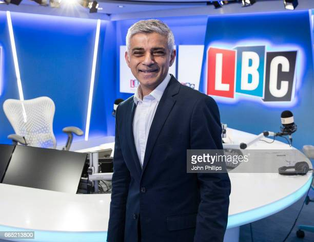 The Mayor of London takes part in Speak to Sadiq his live phonein on the national radio station LBC hosted by James O'Brien at LBC Studio on April 6...