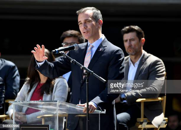 The Mayor of Los Angeles Eric Garcetti speaks to fans and media during the ribbon cutting ceremony for the new home of the Los Angeles FC at Banc of...
