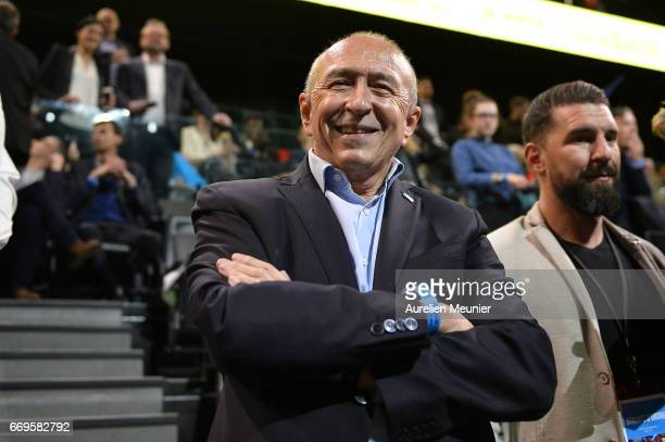 The Mayor of Lyon Gerard Collomb attends French Presidential Candidate Emmanuel Macron political meeting on April 17 2017 in Paris France Thousands...