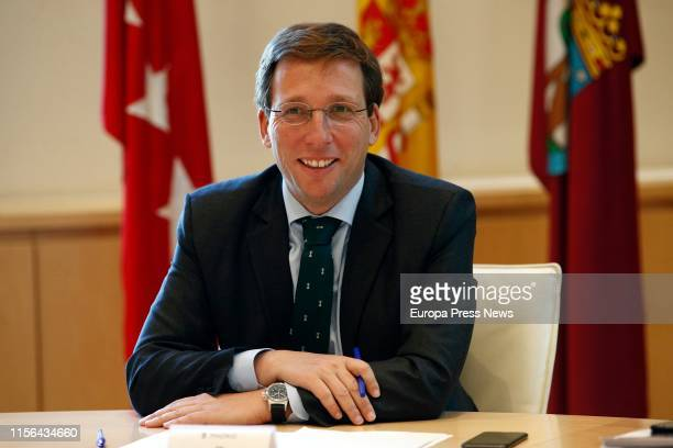 The mayor of Madrid José Luis MartínezAlmeida is seen presiding the first meeting of the municipal Government Board on June 17 2019 in MADRID Spain