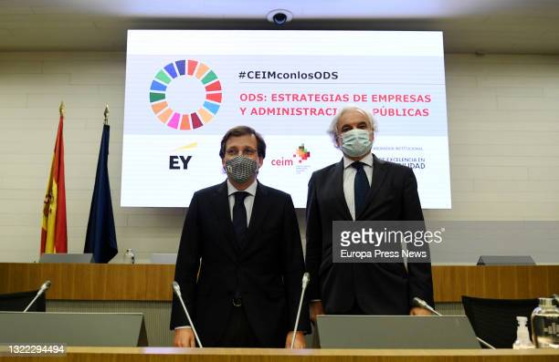 The Mayor of Madrid, Jose Luis Martinez-Almeida and the President of CEIM, Miguel Garrido , at the closing of the business conference 'Strategies of...