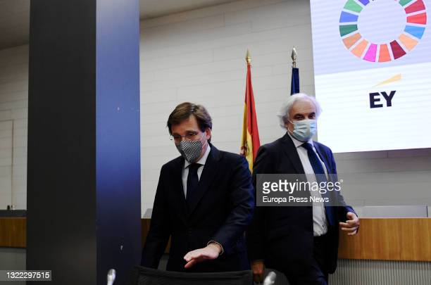 The Mayor of Madrid, Jose Luis Martinez-Almeida and the President of CEIM, Miguel Garrido , on their arrival at the closing of the business...