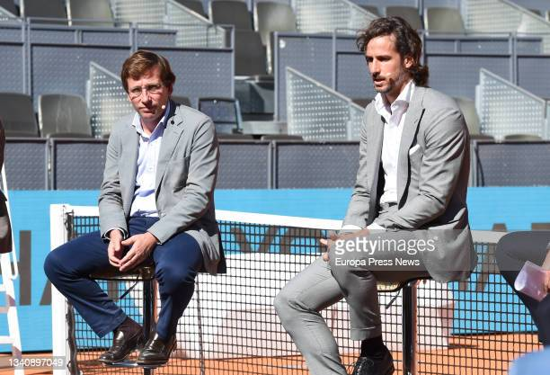 The Mayor of Madrid, Jose Luis Martinez-Almeida, and the professional tennis player and director of the Mutua Madrid Open, Feliciano Lopez, during...