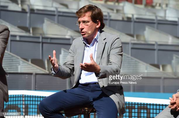 The Mayor of Madrid, Jose Luis Martinez-Almeida, during the signing ceremony for the renewal of the agreement to hold the Mutua Madrid Open tennis...