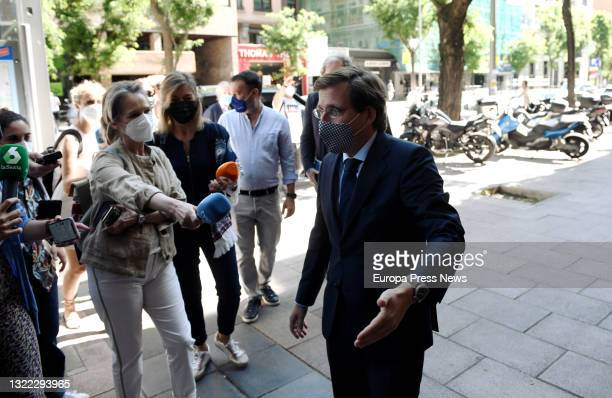 The Mayor of Madrid, Jose Luis Martinez-Almeida, gives statements to the media upon his arrival at the closing of the business conference 'Strategies...
