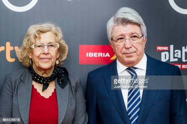 The Mayor of Madrid Manuela Carmena and producer Enrique Cerezo attend the 'Platino Awards 2017' presentation at the Madrid City Hall on April 4 2017...